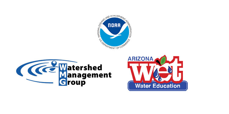 Logos for the National Oceanic and Atmospheric Administration, Watershed Management Group, and Arizona Project WET